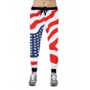 Men's Hip-hop Flag Pattern Drawstring Waist Sport Joggers SweatPants