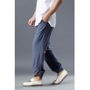 New Trendy Mens Simple Plain Relaxed Fit Linen press-stud vent at cuffs Lounge Pants
