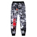 Black 3D Figure Printed Loose Elastic Sport Sweatpants