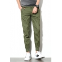 Mens Simple Plain Embellish Pocket Zip-fly Casual Cotton Elastic-Cuffed Tapered Trousers