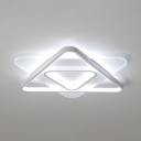 White Triangle LED Ceiling Lamp Modern Eye-Caring Flush Mount Light in White/Warm for Adult Kids Room