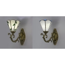 Hand Made White/Beige Shade Wall Light Antique Style Metal and Glass Sconce Light for Bedroom Bathroom