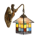 Creative Tiffany Style Wall Lamp 1 Light House Shape Mermaid Arm Sconce Light for Restaurant Hotel