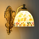 Domed Shape Wall Sconce with Mermaid Decoration Resin and Glass Tiffany Style Wall Light for Hallway