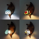 4 Pattern Optional Wall Light Stained Glass 1 Light Vintage Style Hanging Wall Light for Bedroom