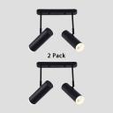 (2 Pack)2 Heads Cylinder Spot Light Bedroom Living Room Angel Adjustable Black/White Aluminum LED Track Lighting in White/Warm White