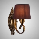 Dining Room Hotel Sconce Light Fabric Metal 1/2 Lights Antique Style Purple Tapered Shade Wall Light