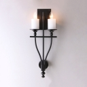 Metal White/Yellow Candle Wall Light 2 Lights Antique Style Sconce Light in Black for Kitchen