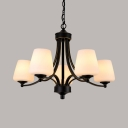 5/6/8/10 Lights Chandelier Rustic Style Metal Glass Ceiling Lighting in Black for Living Room Foyer