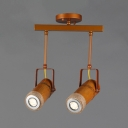 Rustic Style Cylinder Spot Light Wood and Metal 2/3/4 Lights Track Lighting with Adjustable Angle for Shop
