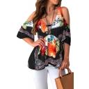 Trendy Floral Print Cold Shoulder Backless Cotton Top for Women