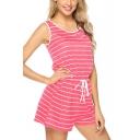 Womens Fashion Striped Printed Round Neck Sleeveless Drawstring Waist Sport Casual Pink Romper