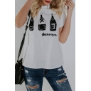 CHAMPAGNE Letter Bottle Printed White Round Neck Short Sleeve Graphic Tee