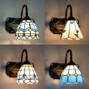Bedroom Dome Wall Light Stained Glass and Metal 1 Light Mediterranean Style Sconce Light