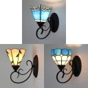 1 Light Sconce Lamp Mediterranean Style Glass Wall Light with 3 Pattern Option for Bedroom