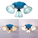 Dining Room Cone Ceiling Light White/Beige/Blue Glass 3 Lights Flush Mount Light