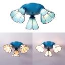 Dining Room Cone Ceiling Light White/Beige/Blue Glass 3 Lights Flush Mount Light