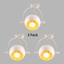 (3 Pack)1 Head Globe Track Light Commercial Metal Ceiling Fixture in Black/White/Aged Brass for Shop