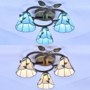 Rustic Cone Ceiling Semi Flush Mount Light Beige/Blue Glass 3 Lights Overhead Light for Bedroom