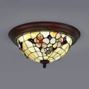 Restaurant Dome Ceiling Lamp Stained Glass Vintage Style Flower Flush Ceiling Light
