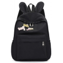 Lovely Chinese Letter Rabbit Ear Patched School Bag Backpack 28*12*37 CM