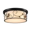 Rustic Style Deer Flush Light Fabric LED Ceiling Lamp in White/Warm for Living Room