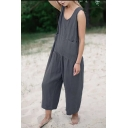Women's Fashion Simple Plain Sleeveless Scoop Neck Loose Relaxed Linen Jumpsuit