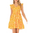 Summer Chic Yellow Floral Printed V-Neck Stringy Selvedge Bow-Tied Waist Mini A-Line Dress