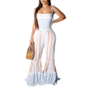 Women's Hot Fashion Light Blue Striped Printed Spaghetti Straps Trumpet Pants Jumpsuits