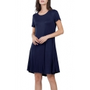 Summer New Stylish Simple Solid Color Round Neck Short Sleeve Mini A-Line T-Shirt Dress