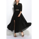 Women's Elegant Lapel Collar Button Placket Half Sleeve Belted Waist Black Plain Maxi Chiffon Shirt Dress
