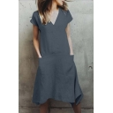 Women's Summer Simple Plain V-Neck Short Sleeve Midi Loose Asymmetrical Cotton Dress With Pockets