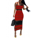 Women's Hot Fashion Mesh insert Sleeveless Striped Printed Maxi Slim Fit Nightclub Tank Dress