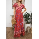 Women's Fashion Floral Printed V-Neck Short Sleeve Sexy Split Front Maxi Beach Dress
