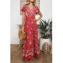 Women's Fashion Floral Printed V-Neck Short Sleeve Sexy Split Front Maxi Beach Dress