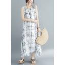 Women's New Trendy Round Neck Sleeveless Stripes Print Maxi Oversize Silk Dress