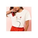 Summer Unique Cool Abstract Figure Print Beading Embellished Short Sleeve Basic White Tee