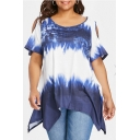Women's Plus Size Hot Sale Tie Dyed Print Cut Out Short Sleeve Round Neck T-Shirt