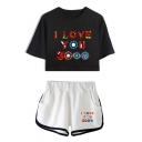 Summer Unique Colorful Letter I LOVE YOU 3000 Short Sleeve Cropped Tee Casual Shorts Girls Two-Piece Set