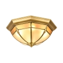 Brass Dome Shape Ceiling Mount Light Elegant Metal Flush Mount Light for Living Room