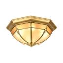 Brass Dome Shape Ceiling Mount Light Elegant Metal Flush Mount Light for Living Room