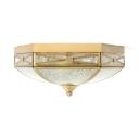 Brass Hexagon Ceiling Lamp 2 Lights Elegant Style Frosted Glass Flush Mount Light for Restaurant