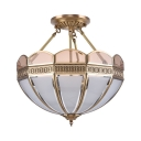 Vintage Style Semi Flush Ceiling Light Dome 4 Lights Glass Ceiling Lamp for Dining Room