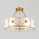 Brass Flower Semi Flush Light 4/6 Lights Elegant Style Glass Ceiling Light for Bedroom