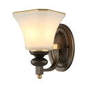 White Bell Shade Sconce Lamp Frosted Glass 1 Light Antique Style Wall Light for Hotel Stair