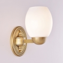 1/2 Lights Barrel Shade Wall Light Simple Style Frosted Glass Sconce Lamp in Brass for Bedroom