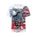 Hot Sale Eagle Flag 3D Printed Round Neck Short Sleeve Casual T-Shirt For Men