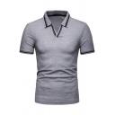 Mens Summer Fashion Contrast Striped Hem V-Neck Short Sleeve Fitted Polo Shirt