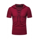 Mens New Trendy Basic Solid Color Short Sleeve Lace-Up Front Hooded Fit T-Shirt