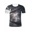 New Trendy 3D Printed Basic Round Neck Short Sleeve Casual Grey T-Shirt For Men